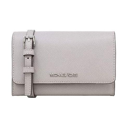 Michael Kors Jet Set Travel Snap Closure Multifunction Phone Case/Holder Crossbody Bag in Pearl Grey