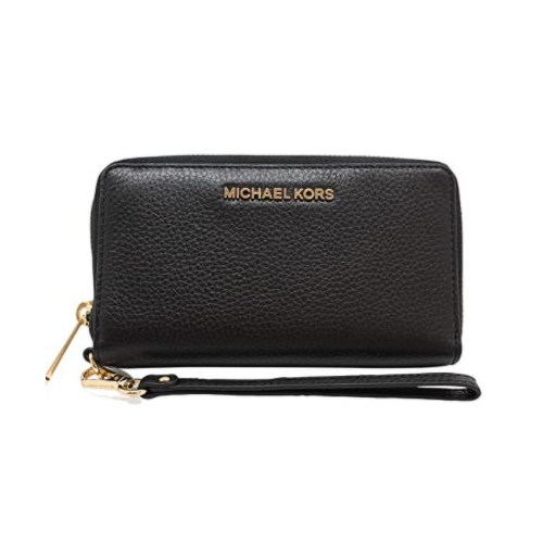 Michael Kors Jet Set Travel Large Flat Multifunction Phone Case Wristlet Pebble Leather (Black)