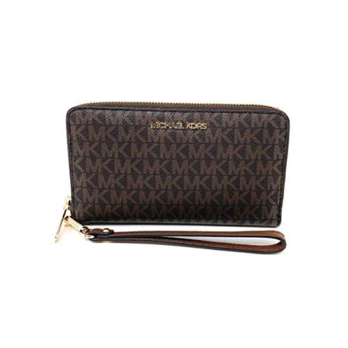 Michael Kors Women's Jet Set Travel Medium Zip Around Phone Holder Wallet, Brown …