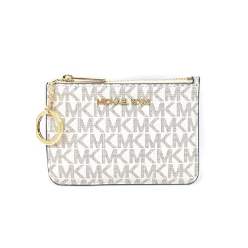 Michael Kors Jet Set Travel Small Top Zip Coin Pouch with ID Holder - PVC Coated Twill (Vanilla) …
