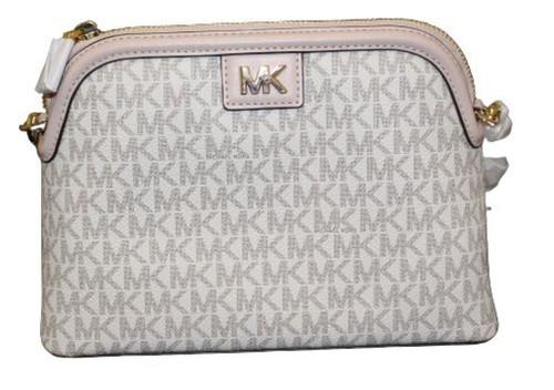 Michael Kors Ladies Logo Print Dome Crossbody Bag (Vanilla/sftpink) …