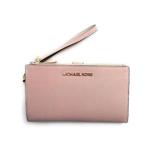 Michael Kors Jet Set Travel Double Zip Saffiano Leather Wristlet Wallet (Powder Blush) 35F8GTVW0L-424