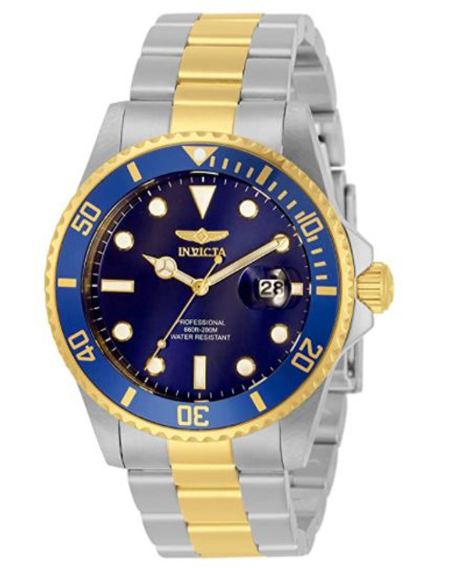 Invicta Men's Pro Diver Quartz Watch with Stainless Steel Strap, Silver, Gold, 22 (Model: 33268) …