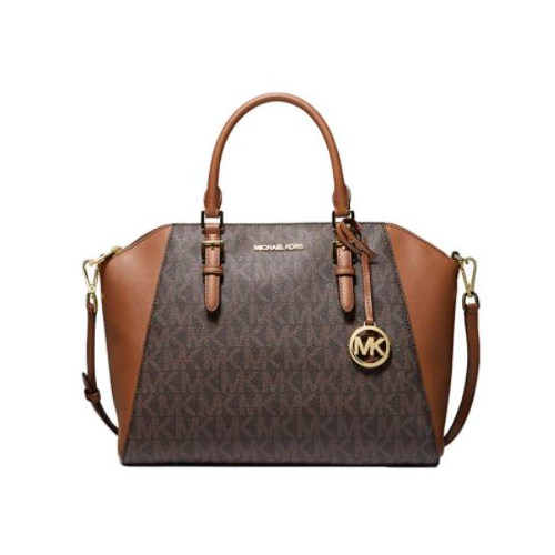 MICHAEL Michael Kors Ciara Large Logo and Leather Satchel - Brown