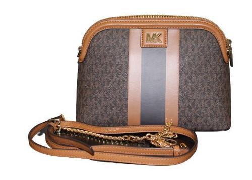 MICHAEL Michael Kors Large Logo Stripe Dome Crossbody Bag …