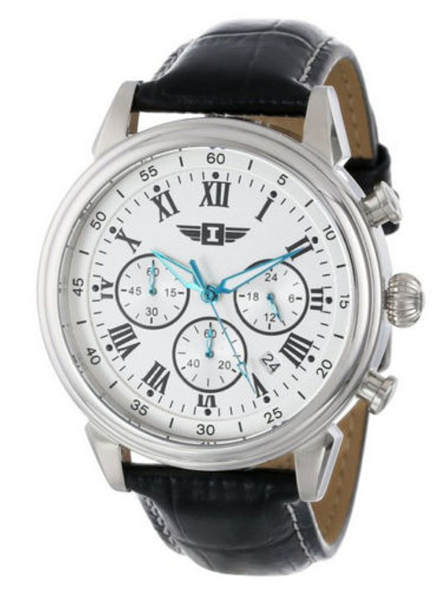 I By Invicta Men's 90242-002 Chronograph Silver Dial Black Leather Watch [Wat...
