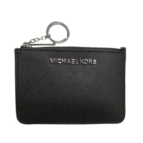 Michael Kors Jet Set Travel Small Top Zip Signature Coin Pouch ID Card Case Wallet Black Silver logo