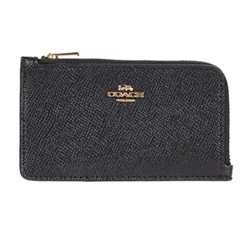 COACH Small Zip Card Case Black One Size