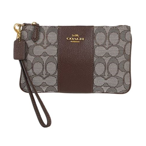 COACH Signature Jacquard Small Wristlet B4/Oak Maple One Size