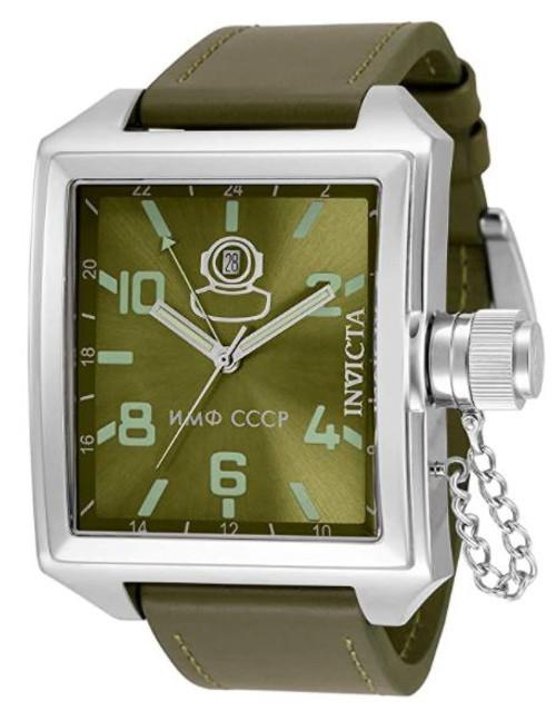 Invicta Men's 33706 Russian Diver Quartz 3 Hand Green Dial Watch