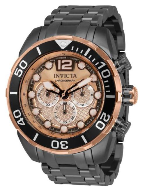 Invicta Men's 33830 Pro Diver Quartz Chronograph Rose Gold, Silver Dial Watch