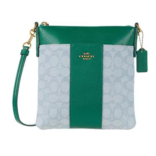 COACH Signature Jacquard Kitt Crossbody B4/Azure Green One Size