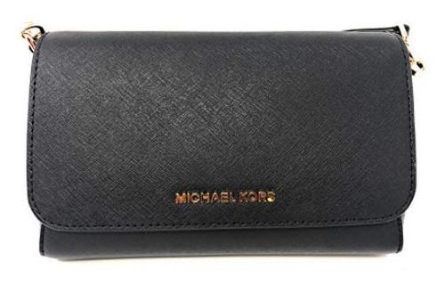 Michael Kors Medium Convertible Pouchtte Leather Crossbody Shoulder Bag (Black)