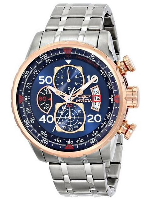 Invicta Men's 17203 AVIATOR Stainless Steel and 18k Rose Gold Ion-Plated Watch …