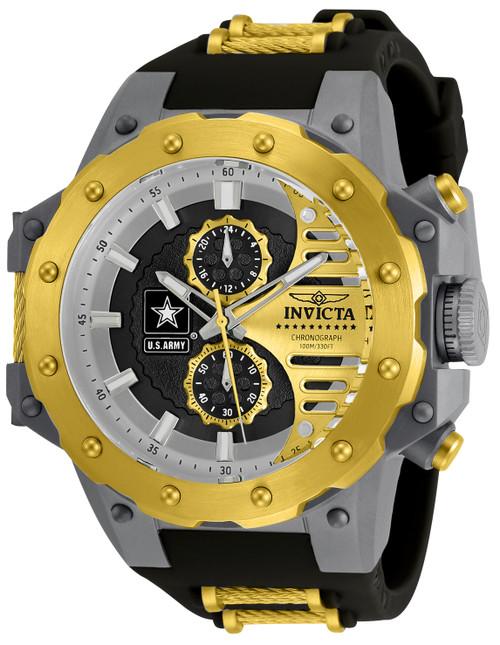 Invicta Men's 32984 U.S. Army Quartz Multifunction Black, Gold Dial Watch