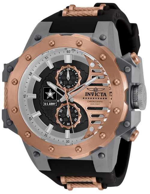 Invicta Men's 32985 U.S. Army Quartz Multifunction Rose Gold, Black Dial Watch