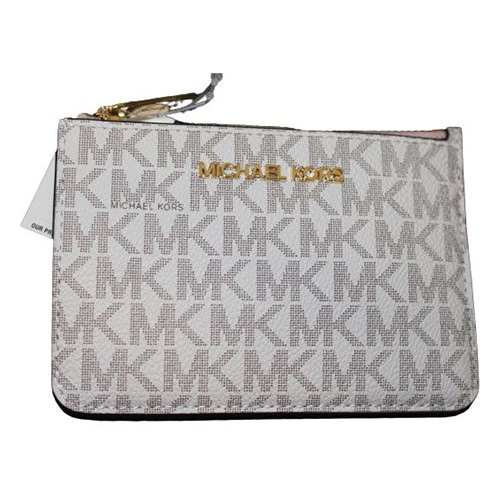 Michael Kors Key Ring Top Zip Coin Pouch ID Card Holder Vanilla Pink Wallet …