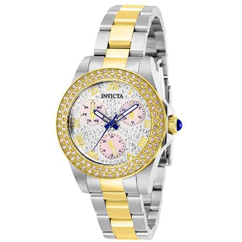 Invicta Women's 28474 Angel Quartz 3 Hand White, Pave Dial Watch