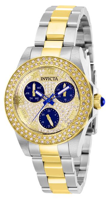Invicta Women's 28476 Angel Quartz 3 Hand Blue, Pave Dial Watch