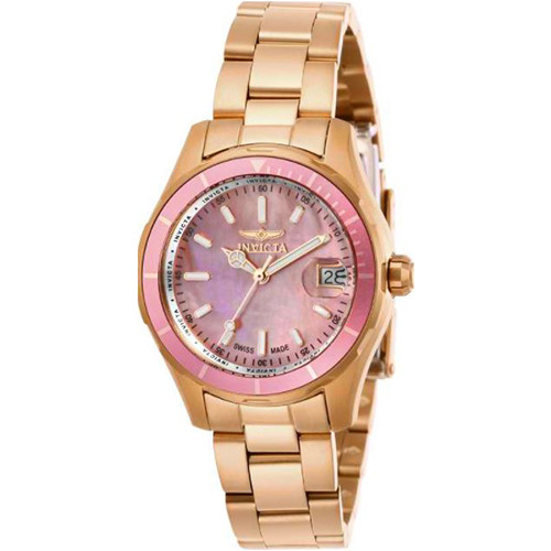 Invicta Women's 28650 Pro Diver Quartz 3 Hand Pink Dial Watch