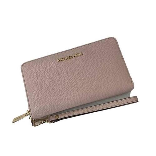 Michael Kors Jet Set Travel Large Flat Multifunction Phone Case Pebbled Leather Wallet/Wristlet in Powder Blush