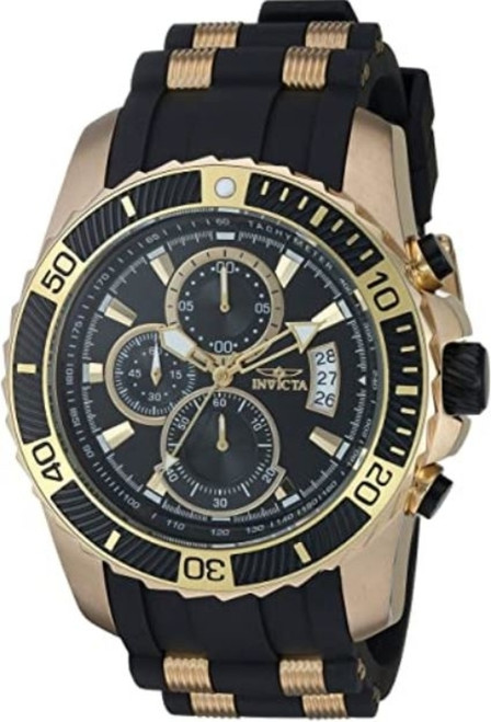 Invicta Men's Pro Diver Stainless Steel Quartz Watch with Silicone Strap, Black, 24 (Model: 22430) …