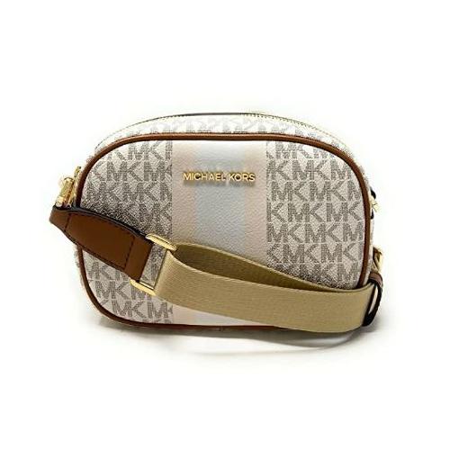 Michael Kors Jet Set Travel Small Oval Crossbody Strip Bag Clutch Vanilla Multi