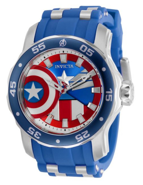 Invicta Men's 34743 Marvel Quartz 3 Hand White, Blue, Red Dial Watch