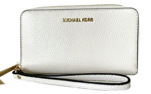 Michael Kors Jet Set Travel Large Flat phone case Leather Light Cream