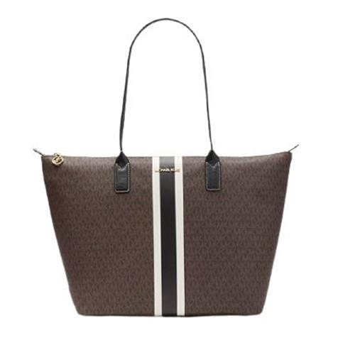Michael Kors Women's Brown Large Logo Stripe Tote Bag