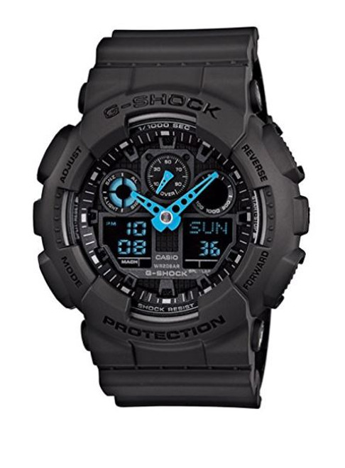 Casio Men's GA-100C-8ACR G-Shock Analog-Digital Watch, Grey/Neon Blue …