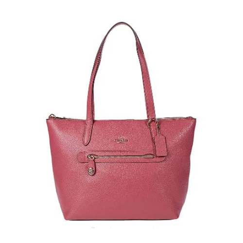 COACH Whls Pebbled Lthr Taylor Tote Gd/Rouge One Size …
