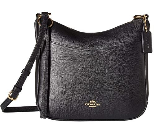 COACH Polished Pebble Leather Chaise Crossbody Gold/Black One Size …