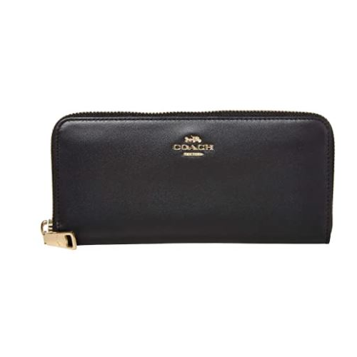 COACH Boxed Slim Accordion Zip Wallet Black/Gold One Size