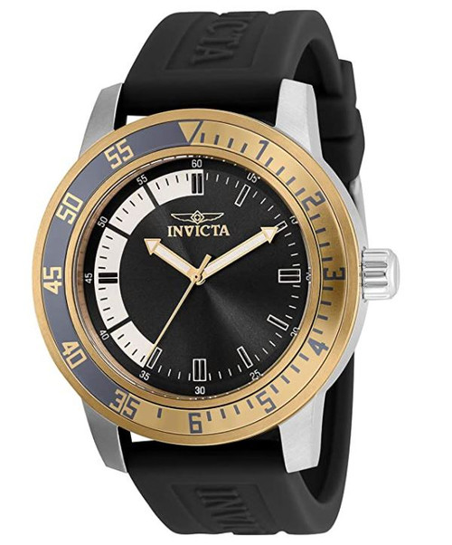 Invicta Men's Specialty Stainless Steel Quartz Watch with Silicone Strap, Black, 22 (Model: 35681)