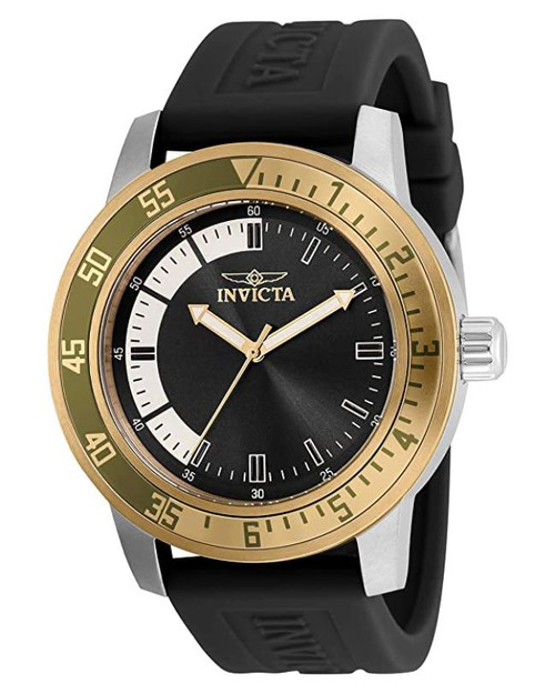 Invicta Men's Specialty Stainless Steel Quartz Watch with Silicone Strap, Black, 22 (Model: 35682) …