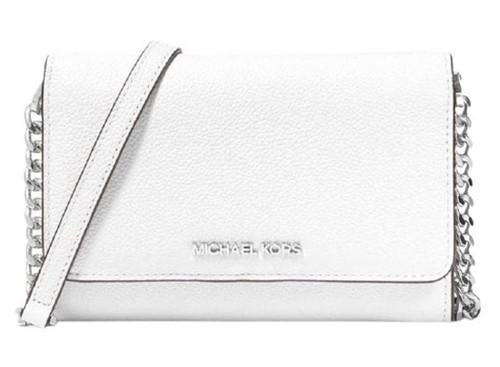 MICHAEL KORS Jet Set Travel Medium Phone Crossbody Pebbled Leather, Optic White …