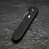 black hard anodized aluminum handle with red G10 push-button