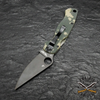 This PM2 2 knife has a premium CPM-S30V flat ground blade with a plain cutting edge and a black DLC finish.