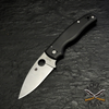 Spyderco Shaman CPM® S30V® stainless steel blade, which features a full-flat grind for outstanding edge geometry and an acute, utilitarian point. A fully accessible Trademark Round Hole™ proudly announces its Spyderco lineage and ensures swift, reliable, one-handed opening with either hand.