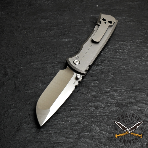 Chaves Redencion 229 Drop Point, Stone Washed Titanium, Black G10
