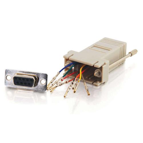 C2G 02941 RJ45 to DB9 Female Serial RS232 Gray Modular Adapter