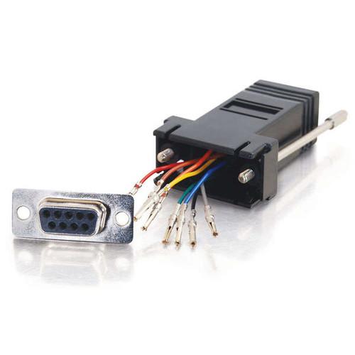 C2G 02943 RJ45 to DB9 Female Serial RS232 Black Modular Adapter