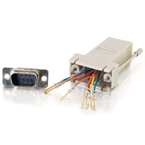 C2G 02945 RJ45 to DB9 Male Serial RS232 Gray Modular Adapter