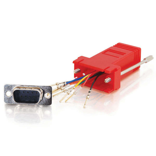 C2G 02949 RJ45 to DB9 Male Serial RS232 Red Modular Adapter