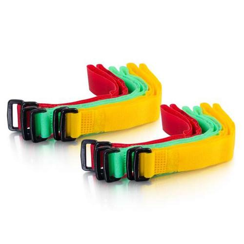 "C2G 29856 11"" Bright Multi-Color Hook-&-Loop Cable Management Wraps, 12 Pack"