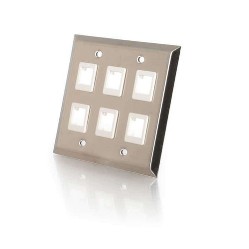 C2G 37098 6-Port Keystone Stainless Steel Double Gang Wall Plate