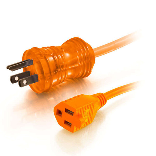 C2G 48074 25Ft 16AWG Hospital Grade Orange Power Extension Cable