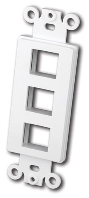 Vanco 820323 Decor Style Multi-Media 3 Port White Wall Plate Insert