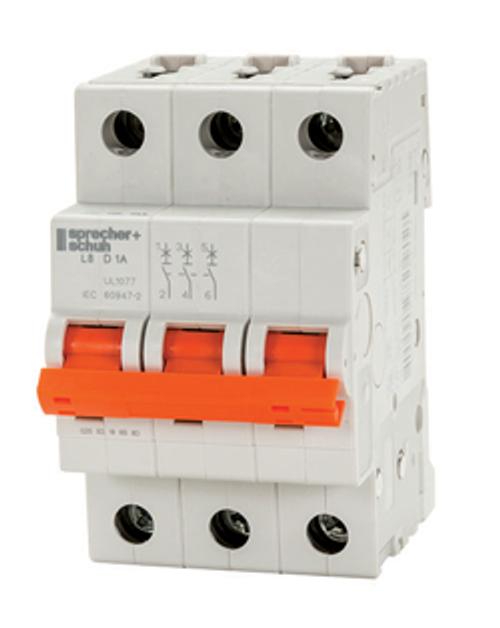 Sprecher & Schuh L8-8/3/D 8A 3-Pole Circuit Breaker